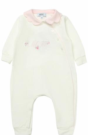 Хлопковая пижама с декоративной отделкой Aletta. Цвет: белый