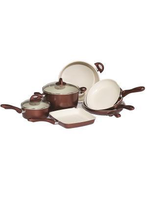 Набор посуды с керамическим покрытием КРОСС BRADEX. Цвет: темно-красный, темно-коричневый