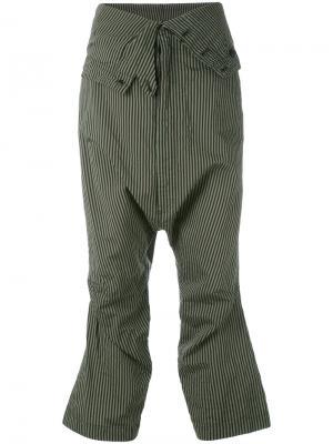 Укороченные брюки в полоску Rundholz. Цвет: зелёный