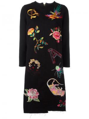Платье с вышивкой Aries. Цвет: чёрный