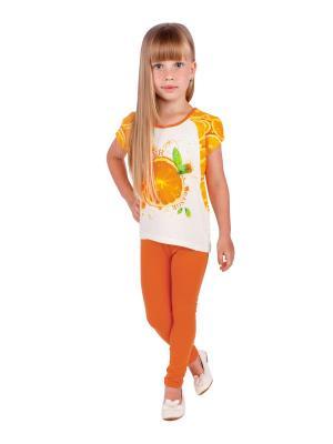 Футболка, леггинсы, коллекция Оранжевый взрыв Апрель. Цвет: молочный, оранжевый