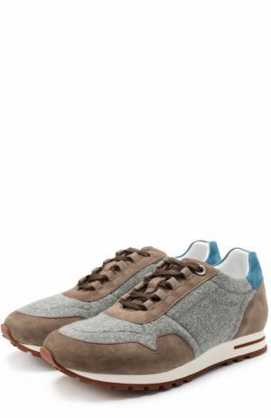 Комбинированные кроссовки на шнуровке Loro Piana. Цвет: серый
