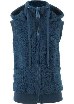 Плюшевый жилет (темно-синий) bonprix. Цвет: темно-синий