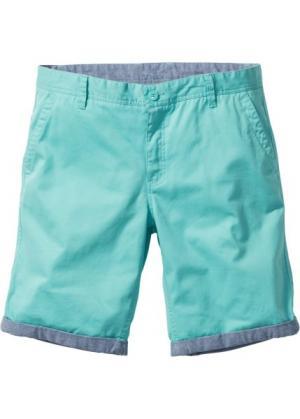 Бермуды-чиносы с отворотами Regular Fit (зеленый) bonprix. Цвет: зеленый