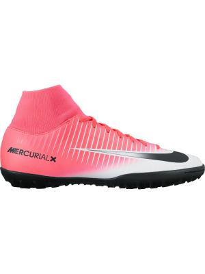 Шиповки MERCURIALX VICTORY VI DF TF Nike. Цвет: розовый, белый
