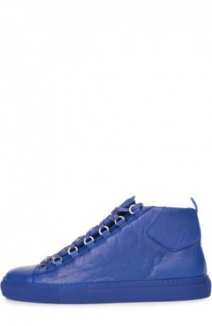 Кожаные высокие кеды Balenciaga. Цвет: ультрамарин