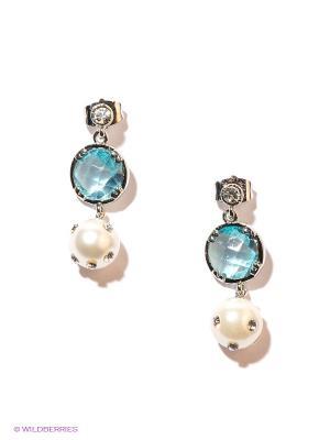 Серьги Royal Diamond. Цвет: серебристый, белый, голубой