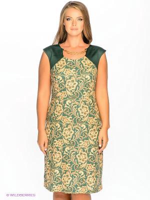 Платье МадаМ Т. Цвет: зеленый, светло-коричневый