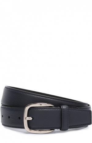 Кожаный ремень с металлической пряжкой A. Testoni. Цвет: синий