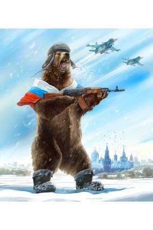Холст Русский медведь Ecoramka. Цвет: коричневый, голубой