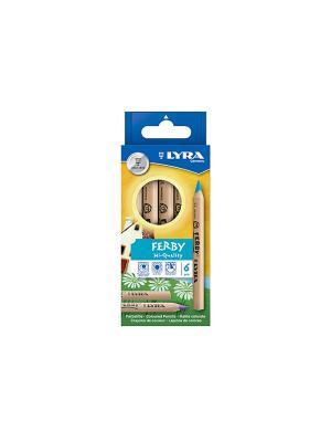 Lyra ferby nature цветные карандаши, 6цв, натуральное дерево.. Цвет: синий, желтый, зеленый