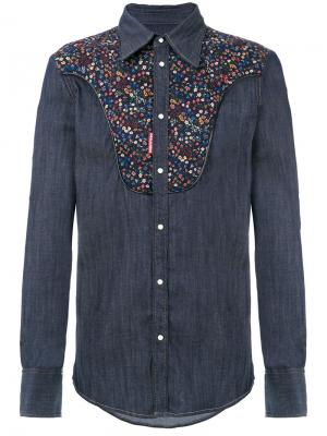 Western micro floral denim shirt Dsquared2. Цвет: синий