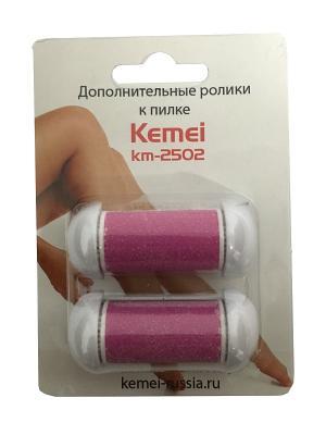 Комплект сменных насадок для роликовой пилки KM-2502. Стандартная абразивность Kemei. Цвет: розовый