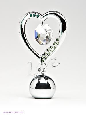Держатель для визиток Элегантное сердце CRYSTOCRAFT. Цвет: серебристый, зеленый
