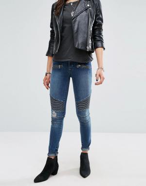Lovers + Friends Байкерские джинсы скинни Aaron. Цвет: синий