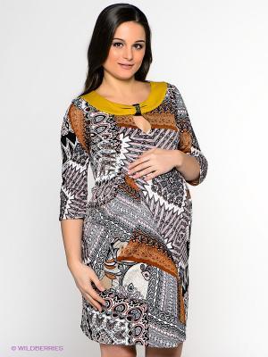 Платье UNIOSTAR. Цвет: черный, желтый, белый