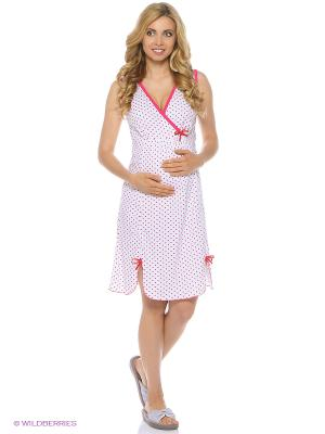 Ночная сорочка для беременных и кормления 40 недель. Цвет: розовый, белый