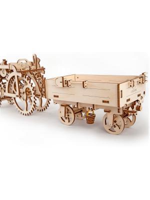Конструктор 3D-пазл Ugears - Прицеп к трактору. Цвет: светло-желтый