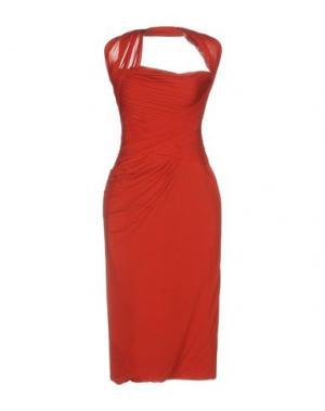 Платье до колена HERVE' L. LEROUX. Цвет: красный