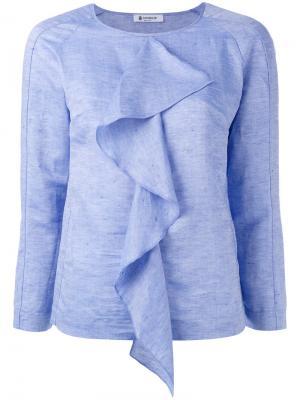 Блузка с драпировкой Dondup. Цвет: синий