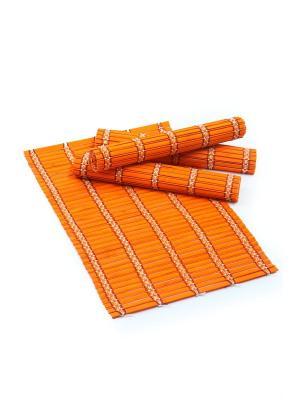 Салфетка из бамбука ,4 штук DAVANA. Цвет: оранжевый