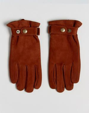 Dents Перчатки из нубука Wells. Цвет: рыжий