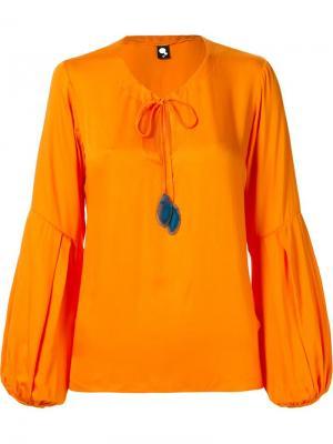 Блузка с широкими рукавами Skinbiquini. Цвет: жёлтый и оранжевый
