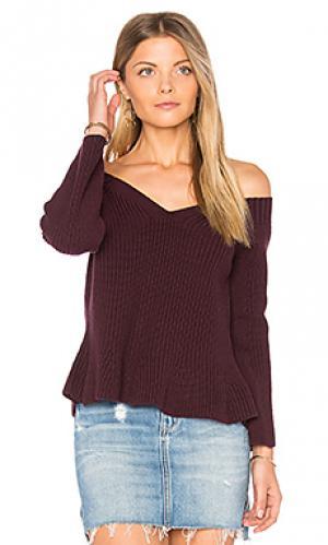 Укороченный свитер с баской 525 america. Цвет: красное вино