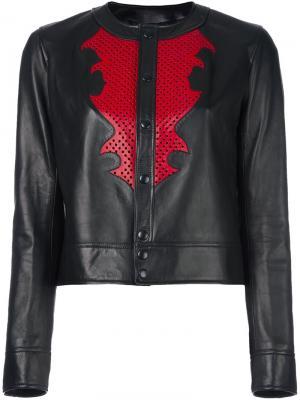 Кожаная куртка с кнопочной застежкой Anthony Vaccarello. Цвет: чёрный