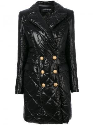 Двубортное стеганое пальто Balmain. Цвет: чёрный