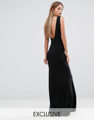 Club L Платье макси с глубоким вырезом на спине. Цвет: черный
