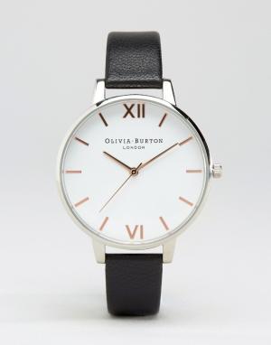 Olivia Burton Часы с белым циферблатом и черным кожаным ремешком OB16B. Цвет: черный