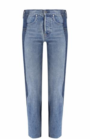 Укороченные джинсы прямого кроя с потертостями Helmut Lang. Цвет: голубой