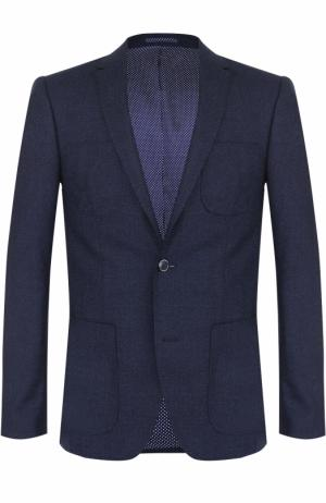 Шерстяной однобортный пиджак Sand. Цвет: темно-синий
