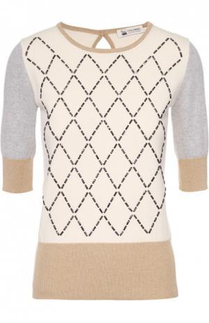 Кашемировый пуловер с круглым вырезом и контрастной отделкой Colombo. Цвет: бежевый