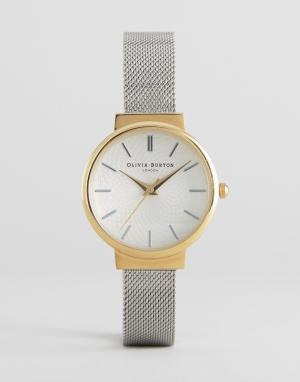 Olivia Burton Часы с серебристым сетчатым ремешком Hackney. Цвет: серебряный
