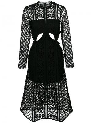 Платье с вырезами Payne Self-Portrait. Цвет: чёрный