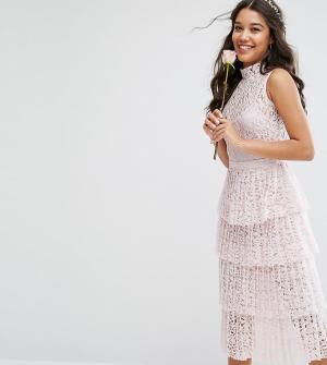 Body Frock Кружевное платье миди с плиссированной ярусной юбкой Bodyfrock. Цвет: розовый
