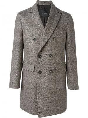 Двубортное пальто  Delloglio Dell'oglio. Цвет: коричневый