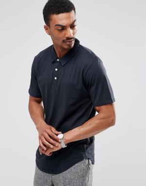 Troy Трикотажная футболка-поло с закругленным низом. Цвет: темно-синий