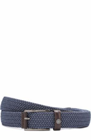 Плетеный текстильный ремень с металлической пряжкой Paul&Shark. Цвет: голубой