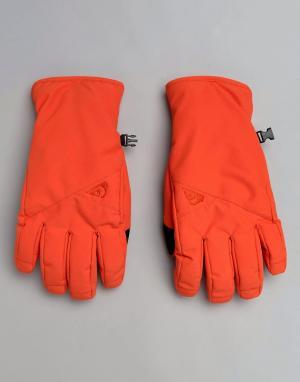 Quiksilver Красные горнолыжные перчатки Cross. Цвет: оранжевый