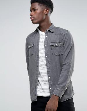 Selected Джинсовая рубашка с длинными рукавами. Цвет: серый