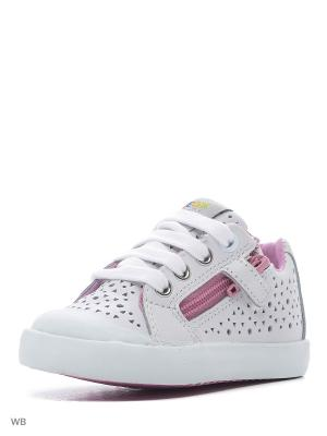 Кроссовки GEOX. Цвет: белый, розовый