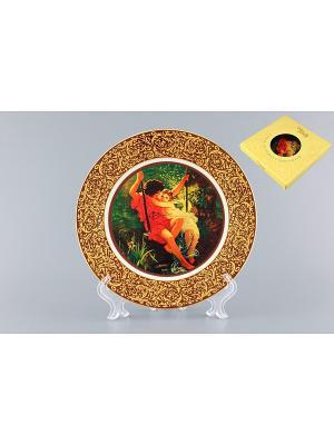 Тарелка декоративная Влюбленная парочка на качелях Elan Gallery. Цвет: желтый, синий, коричневый, красный