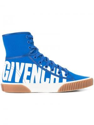 Хайтопы с принтом-логотипом Givenchy. Цвет: синий