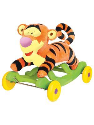 Каталка - качалка Тигруля плюш. Kiddieland. Цвет: желтый, салатовый, оранжевый