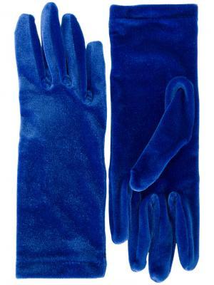 Классические бархатные перчатки Balenciaga. Цвет: синий