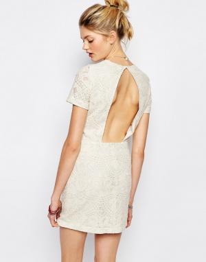 Sessun Платье с вышивкой и вырезом Jaja. Цвет: кремовый