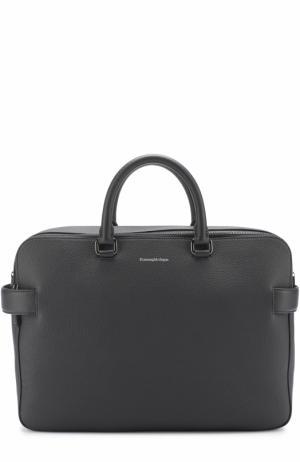 Кожаная сумка для ноутбука с двумя отделениями на молнии Ermenegildo Zegna. Цвет: темно-синий
